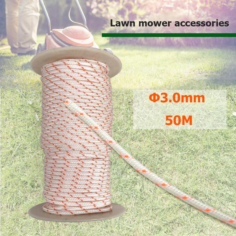 50m3.0mm Nylon Starter Rope Cord Pull Starter Recoil Engine Start Cord For 430/520 Trimmer Cutter Chainsaws Lawn Mower Fittings