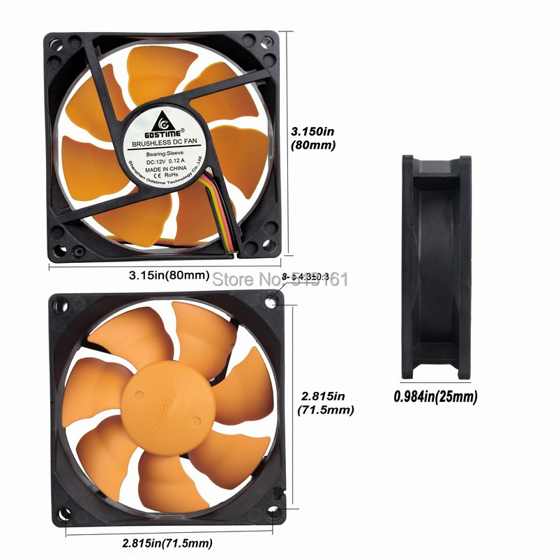 2PCS Gdstime Silent Cooler 12V 80mm x 80mm x 25mm 8cm DC Brushless Cooling Exhaust Fan 8025S in Fans Cooling from Computer Office