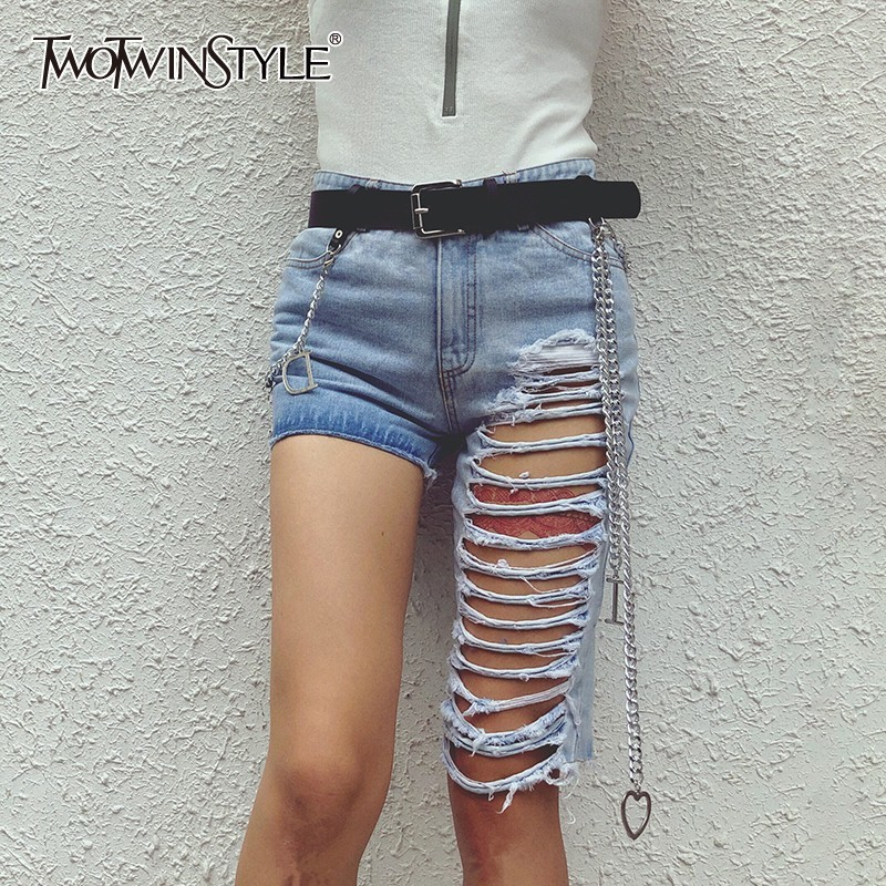 TWOTWINSTYLE Korean Streewear   Jeans   Women High Waist Asymmetrical Ripped Hole Female Denim Shorts Fashion Spring 2019 New