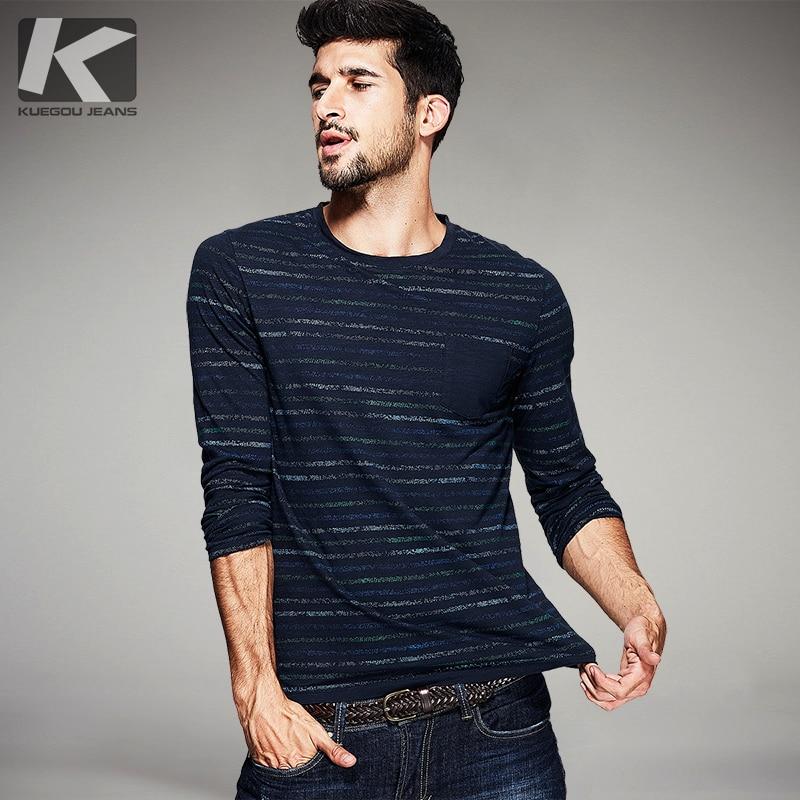 KUEGOU Őszi Férfi Divat T-shirt 100% Pamut Kék Csíkos Színes Zsebek Márka Ruházat Férfi hosszú ujjú karcsú pólók 9123
