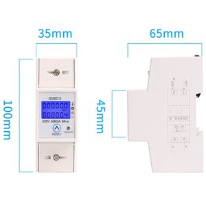 Image 5 - Din Rail Single Phase Wattmeter Power Consumption Watt Electronic Energy Meter kWh 5 80A 230V AC 50Hz with Reset Function