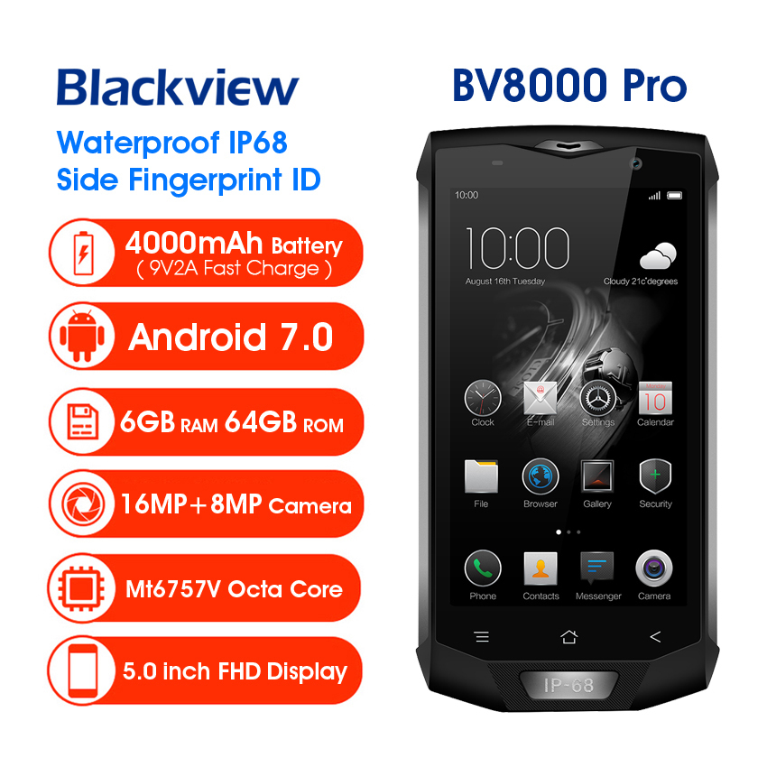 """Blackview BV8000 Pro IP68 Waterproof Shockproof 4G Smartphone 5.0"""" MTK6757V Octa Core Android 7.0 6GB+64GB 16.0MP Mobile Phone"""