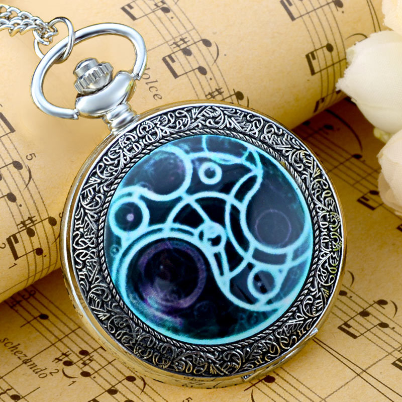 Vintage Doctor Who Silver Quartz Pocket Watch Classic Men Women Pendant Necklace Watches Gift