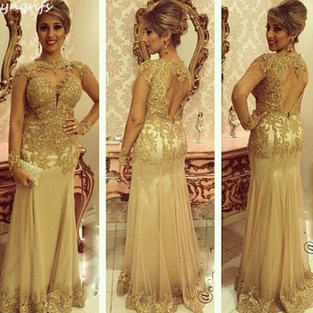 YNQNFS Elegant Gold Mother of the Bride Dresses Pearls Lace Appliques Long Sleeves Vestidos Sexy Open Back Formal Dress MD341