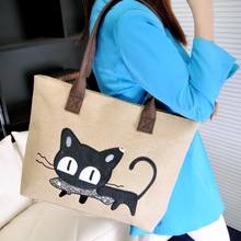 Cartoon Kitty Canvas Bag Single Shoulder Package Korean Edition Fashion Portable Leisure Time Cat Eat Fish Woman