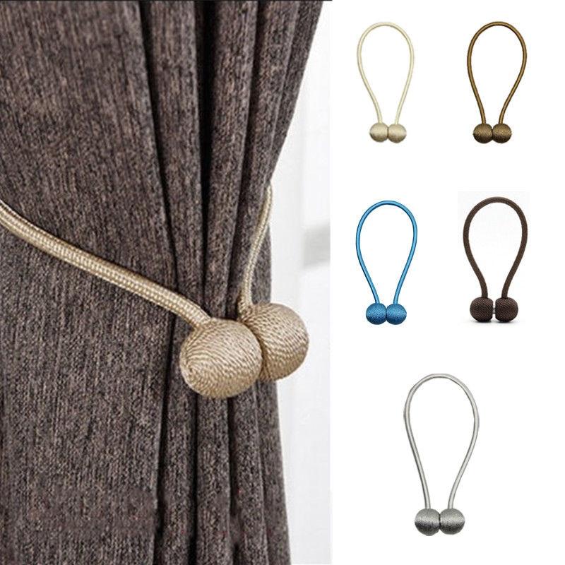 Drape Tie Backs Decorative Rope Holdbacks Holder for Window Sheer and Blackout Panels Pink Voraca 2 Pcs Magnetic Curtain Tiebacks