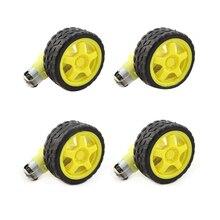 4 шт. для Arduino Smart Car Robot пластиковое колесо шины с DC 3-6 V мотор-редуктор