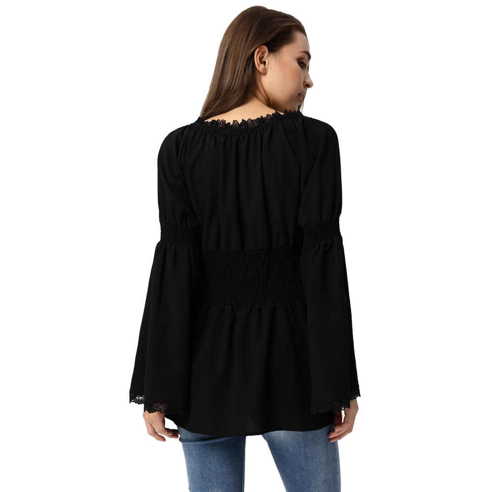 de301874b0f40 ... New Women steampunk gothic shirt blouse autumn sollid Casual Long flare Sleeve  Off Shoulder Smocked Waist ...