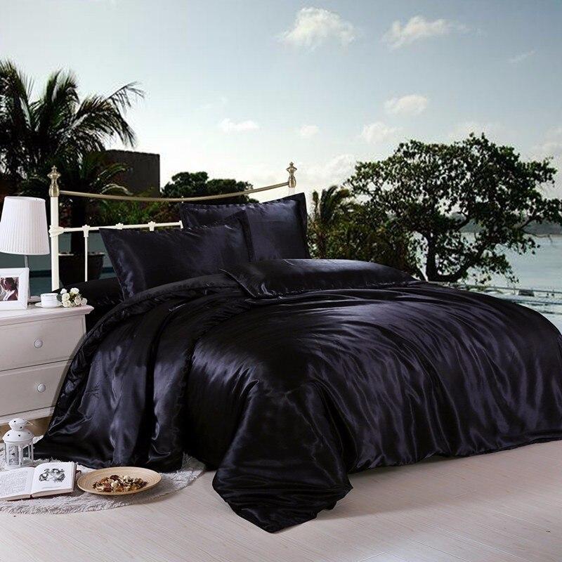 Jeefttby Bedding-Set Silk Pillowcase Duvet-Cover Satin King Queen Twin-Size Luxury