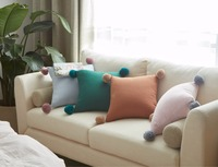Nordic Four Corners with Ball Pillow Striped Cushion Decorative Throw Pillows Cotton Cushion Sofa Car Decoration cojines decor