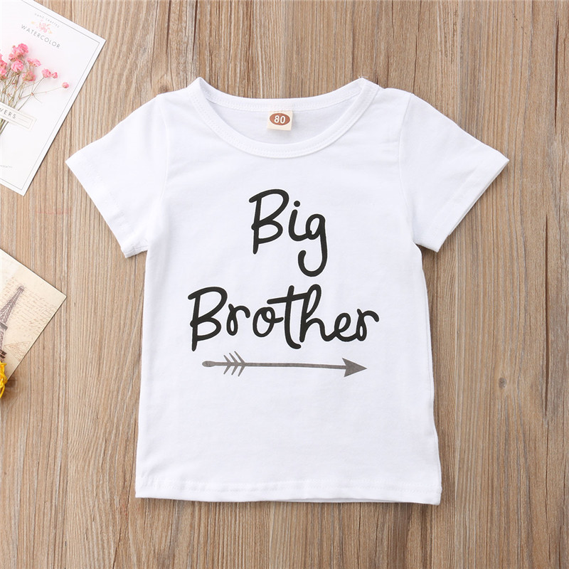 1PCS Family Matching Baby Little Sister Short Sleeve Letters Rompers Bodysuit Big Brother Cotton T shirt
