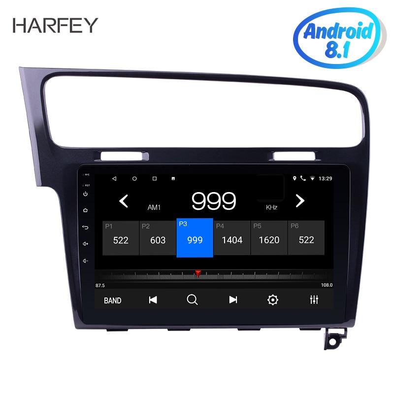 Harfey lecteur multimédia Android 7.1/8.1 2Din autoradio pour VW Volkswagen Golf 7 2013 2014 2015 GPS 10.1