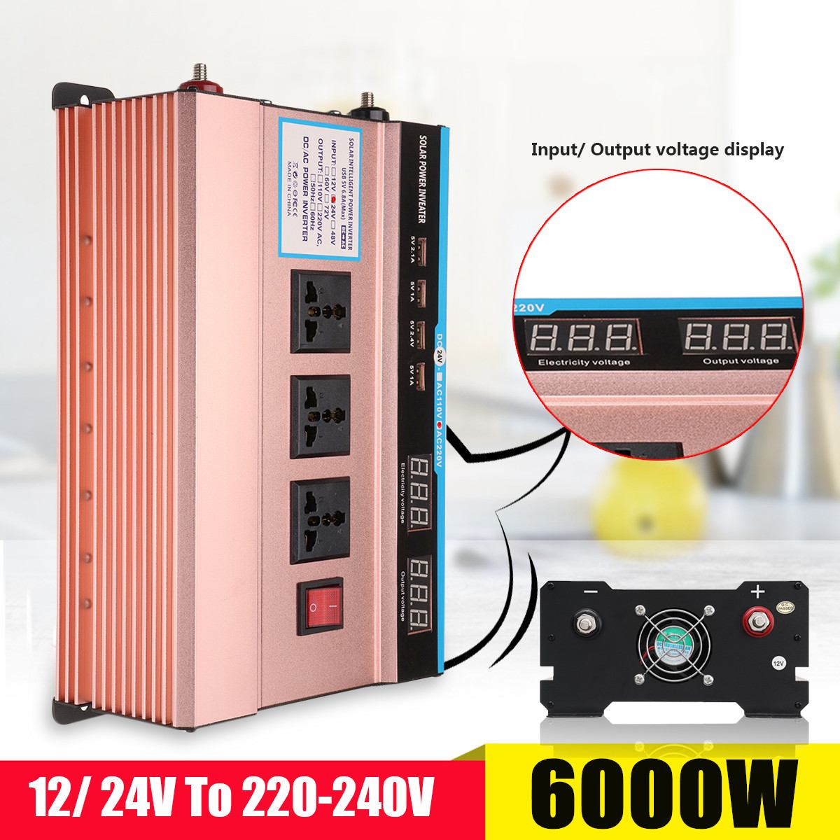 DC 12 / 24V to AC 220V P eak 6000W Car Solar Power Inverter Modified Sine Wave USB Converter Voltage Transformer Universal