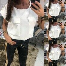 Summer fashion womens multi-pocket chiffon white blouse round neck short-sleeved