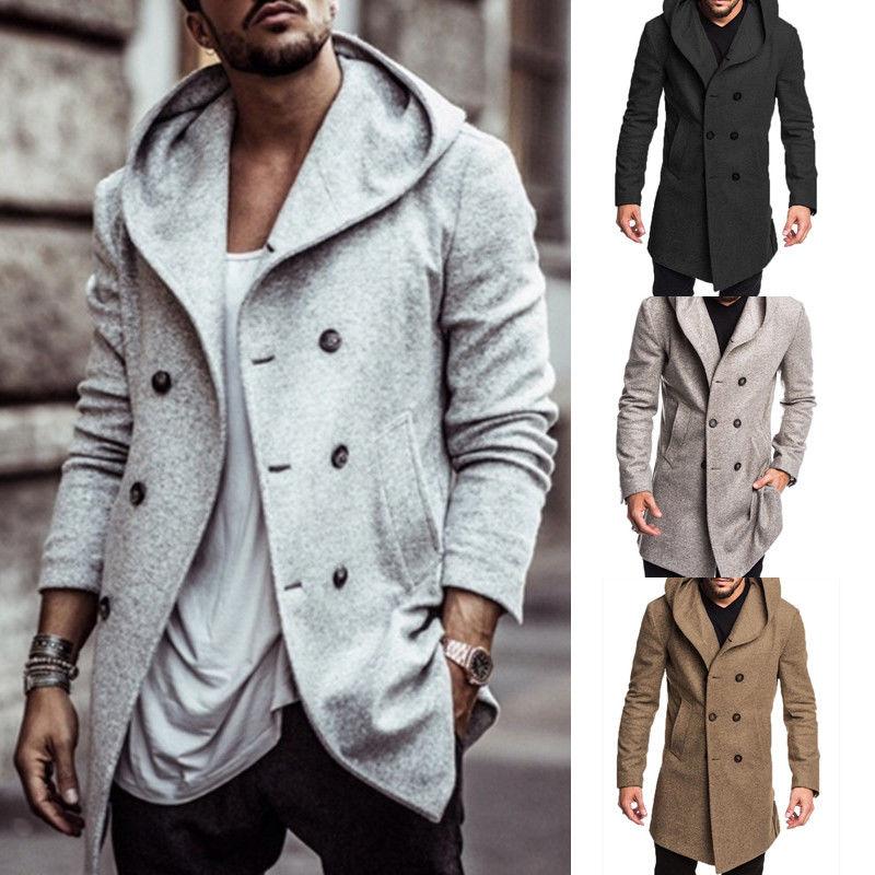 Jackets & Coats Jaycosin Mens Wool Warm Winter Trench Long Outwear Button Smart Overcoat Coats Waterproof Windproof Winter Jacket Men Wool & Blends