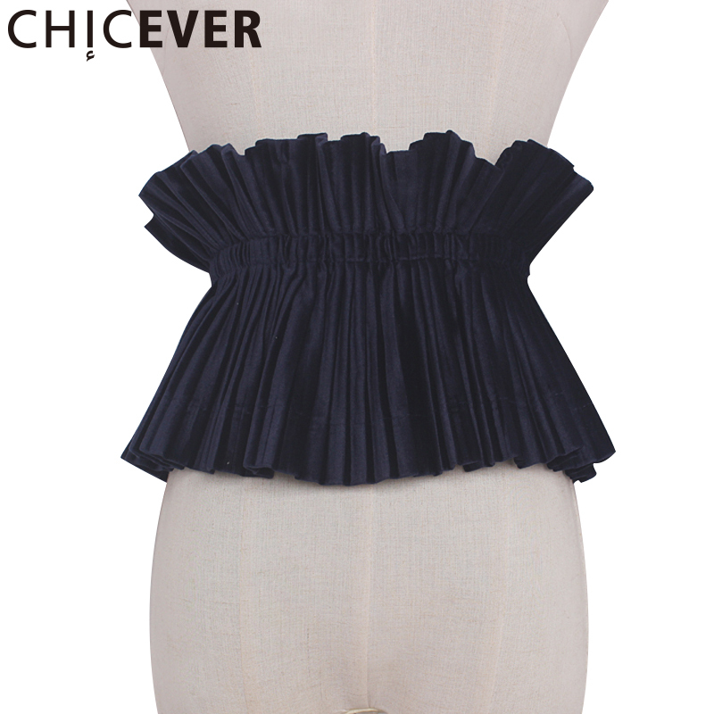 CHICEVER 2020 Summer Black Lace Up Fold Cummerbunds Female Women Belt Wild Velvet Women's Belts Fashion