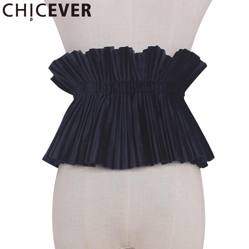 CHICEVER 2020 Summer Black Lace Up Fold Cummerbunds Female Women Belt Wild Velvet Women's Belts Fashion