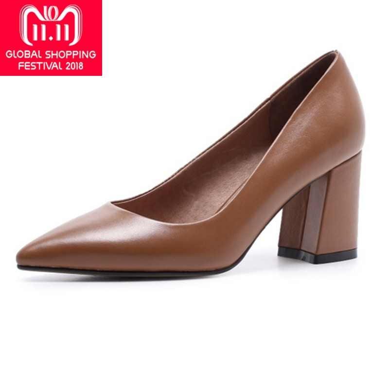 {Zorssar} 2018 NEW fashion Genuine Leather thick heel womens shoes heels Slip on Pointed toe High heels pumps ladies dress shoes zorssar fashion real leather womens pumps pointed toe high heels mary jane shoes low heel women shoes woman sandals green