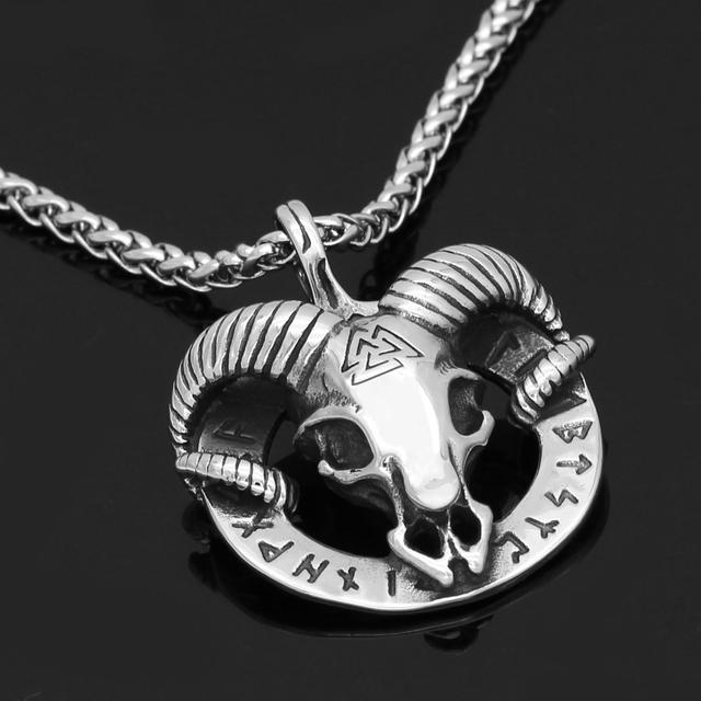 STAINLESS STEEL THOR GOAT VALKNUT NECKLACE