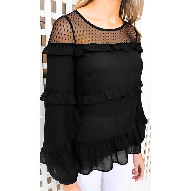 dd498ae9330473 Fashion Woman Blouses 2019 Women Transparent Semi-sheer Mesh Casual Blouse  Shirt Ruffle Long Sleeve Chiffon Women Tops Black