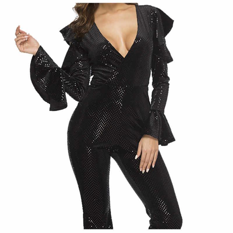 Сексуальный блестящий комбинезон с блестками и рукавами, Женский Облегающий комбинезон с v-образным вырезом, расшитый блестками, черные блестящие комбинезоны для вечеринок, клубов