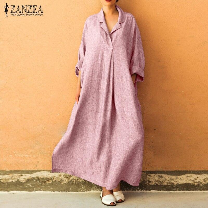 €12.83 34% СКИДКА|Женское Повседневное платье рубашка ZANZEA, длинное платье макси с длинным рукавом и отложным воротником, весна 2019|Платья| |  - AliExpress