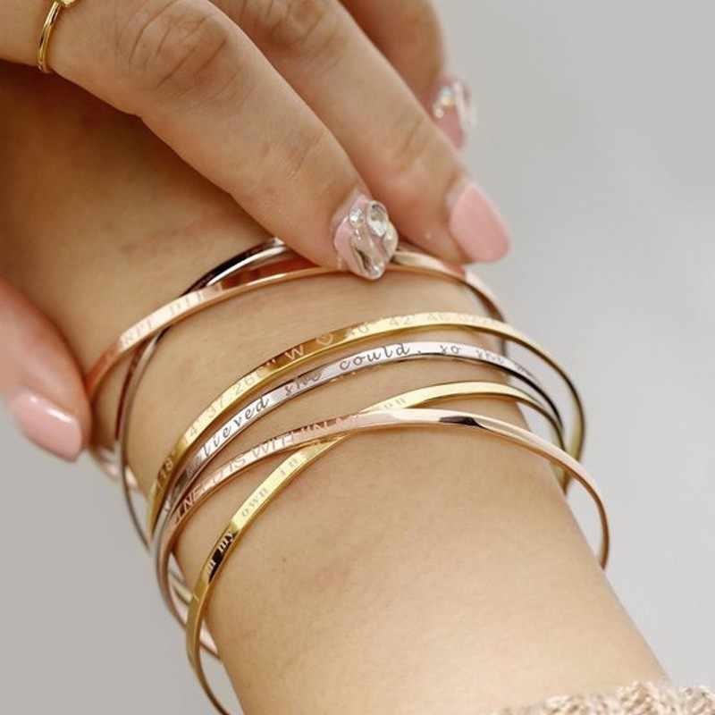 สร้างแรงบันดาลใจกำไลข้อมือสำหรับสตรี Rose Gold เงินแกะสลัก Mantra สร้อยข้อมือภรรยาคู่หมั้นของขวัญ