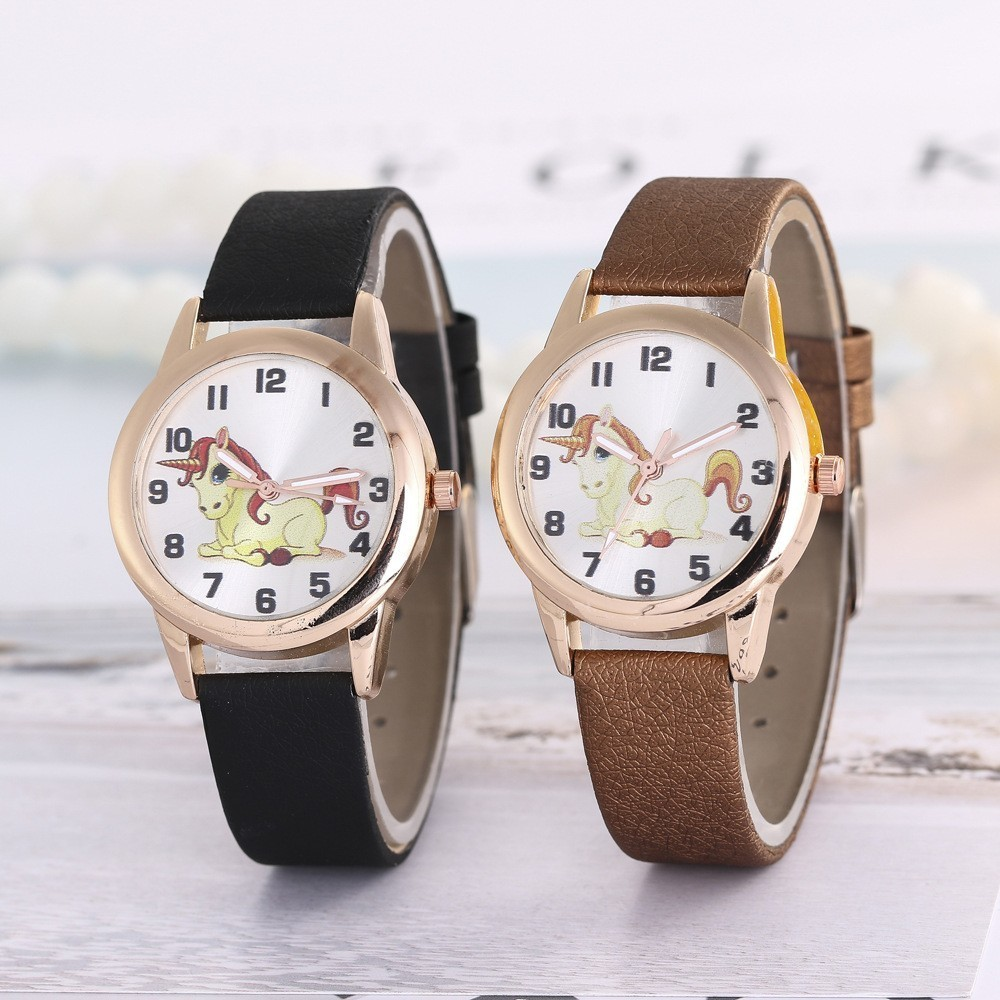 Luxury Band Kids Ladies Watch Women Watches Fashion Cute Cartoon Unicorn Leather Strap Reloj Mujer Quartz Wristwatch Childs Gift