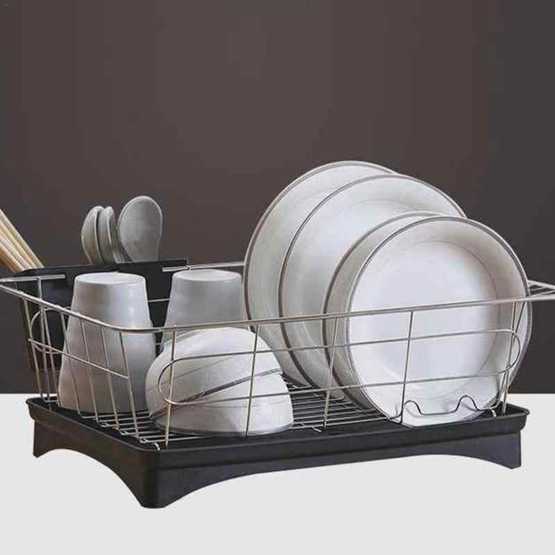 ... Stainless Steel Dish Drainer Drying Rack With 3-Piece Set Removable  Rust Proof Utensil Holde 2294cc4d5048