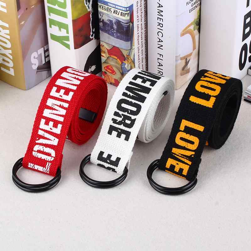 Belt Harajuku Style Red Letter Printed Fashion Unisex Double D Ring Canvas Strap Long Jeans Belts For Women Men Canvas Belt
