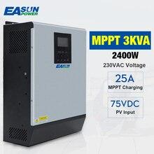 Inversor híbrido de onda senoidal pura solar do inversor 3kva 24v 220v embutido 25a mppt pv controlador de carga e carregador ac para uso doméstico
