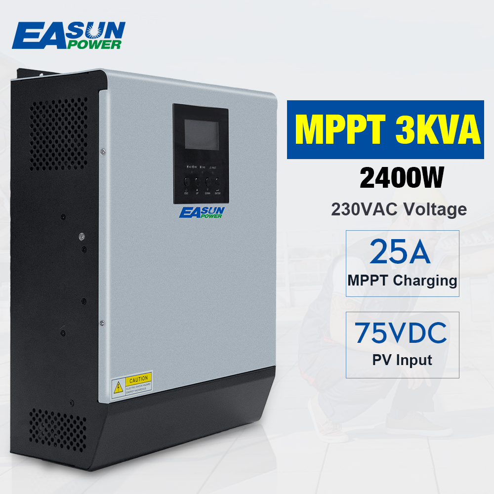 Solar Inverter 3KVA Pure Sine Wave Hybrid Inverter 24V 220V Built-in 25A MPPT PV Charge Controller and AC Charger for Home Use