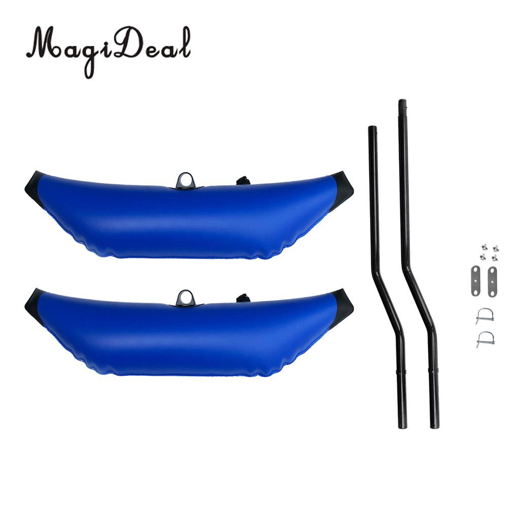 1 Pair Deluxe Blue PVC Kayak Inflatable Outrigger Stabilizer & 2Pcs Pole Support Mount for Boat Canoe Paddling Fishing SUP