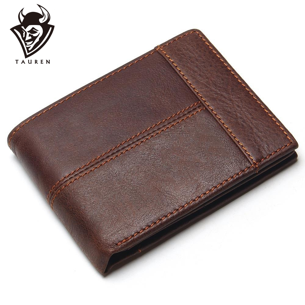 TAUREN Classic Genuine Leather Men Wallets Coin Pocket Zipper Men's Leather Wallet With Coin Purse Portfolio Cartera