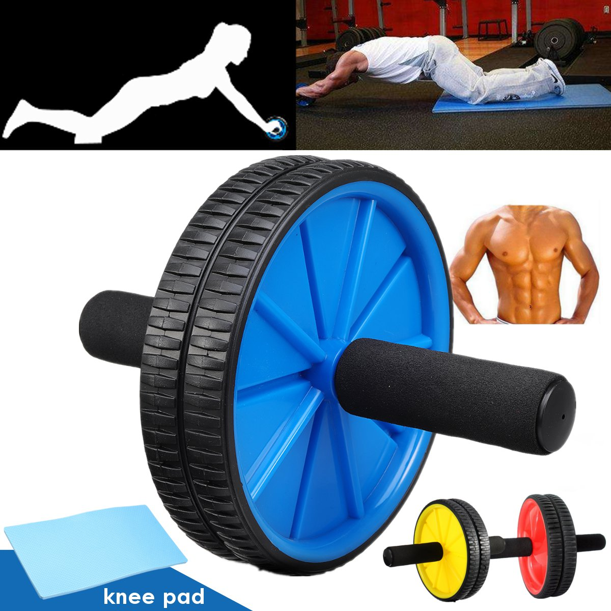 Body Fitness Dual Wheel Abdominal Training Roller Home Gym Arm Waist Exerciser Pad Fitness Body Building Equipments Ab Rollers image