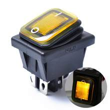 Rocker Toggle Switch On-Off-On 4 Pins 12V DC Car Boat Automobiles Waterproof LED Latching Switches (Yellow Light)(China)