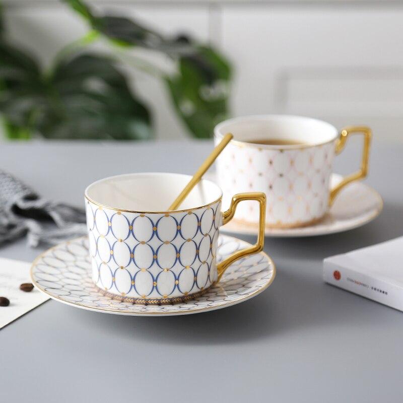 Os chine tasse de café et tasse à café soucoupe 200 Ml porcelaine anglaise de haut degré d'ustensiles en verre en céramique, boire du thé