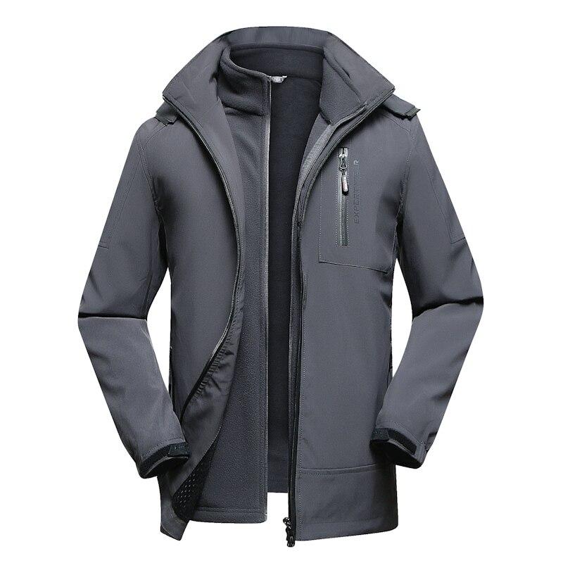 8XL плюс Размеры зимняя куртка Для мужчин Термальность Водонепроницаемый ветровка две куртки в одной толстые теплые парки мужская верхняя о
