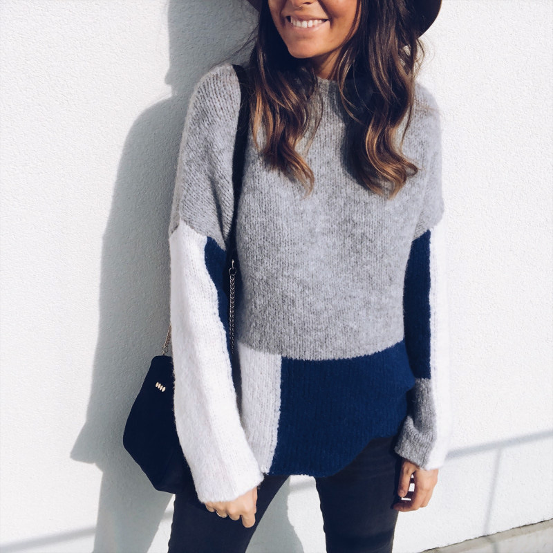 1* Sweater casual Women Ladies Long Sleeve Color Block Sweater Warm Pullover Knitwear