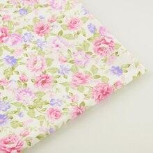 Ткань для шитья, постельные принадлежности, скрапбукинг, декоративная ткань, домашний текстиль, розовый цветочный рисунок, хлопковая ткань, саржевая стеганая ткань