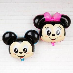 5 шт., 70*43 см, милые украшения для дня рождения с Микки Маусом, Детские гелиевые шары, розовый бант, милые шарики для вечеринки с Минни Маус