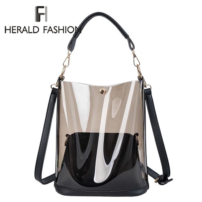 Herald Fashion 2pcs Women Clear Transparent Shoulder Bag Jelly Candy Summer Beach Handbag Woman Messenger Bags Bolsa FemininaTop-Handle Bags   -