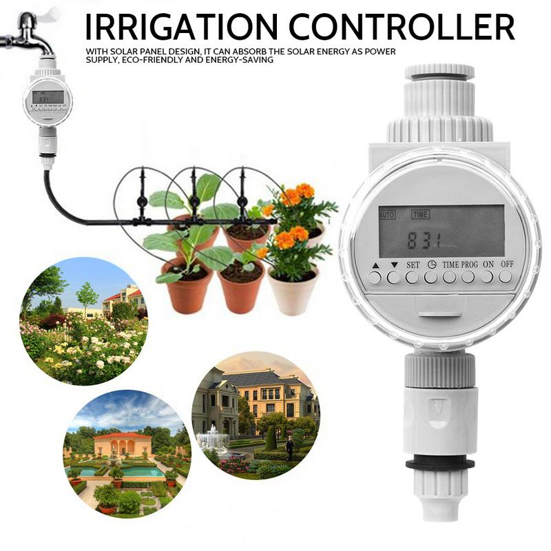 Solar Digital LCD Irrigation Controller Auto Watering Timer Water Saving Irrigation Controller Garden Tool Plastic White in Garden Water Timers from Home Garden