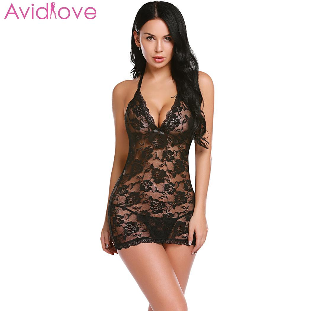 Avidlove Sleepwear Women Sexy Lingerie Nightwear Flower Halter Neck Sleeveless Lace Floral See Through Lingerie Sleepwear(China)