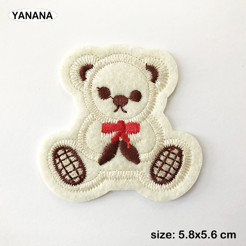 Little bear Patch for Clothing Iron on Embroidered Sewing Applique Cute Sew On Fabric Badge DIY