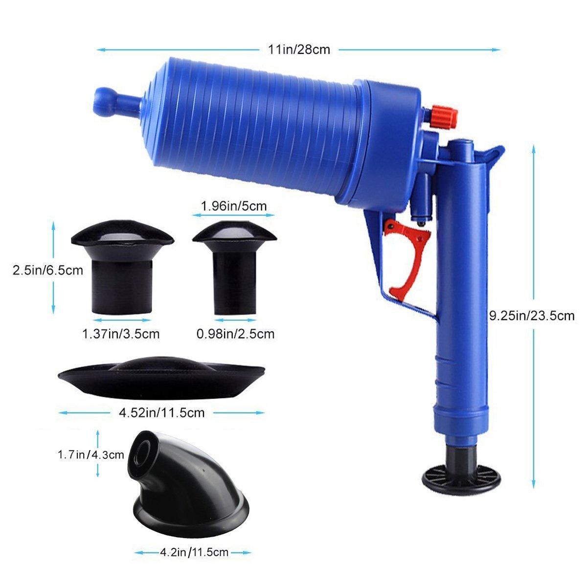 air power high pressure drain blaster gun and powerful manual sink plunger opener cleaner pump