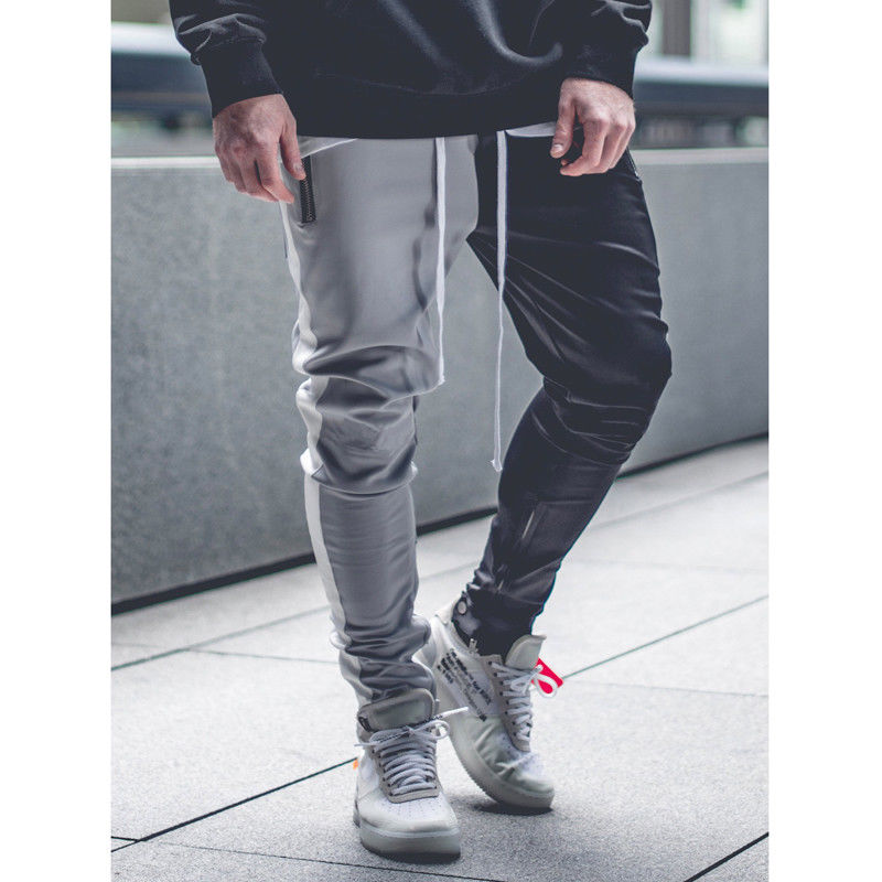 Man Sweat Track suit Jogging Bottom BLK Stripe Real Leather Jean Pants Trousers