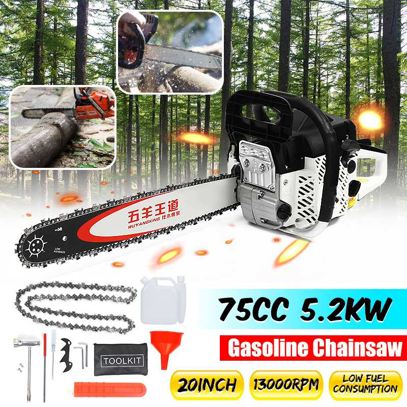 Professional 5200W 75cc Engine Cycle Chain Saw 20 Inch Bar Gas Gasoline Powered Chainsaw
