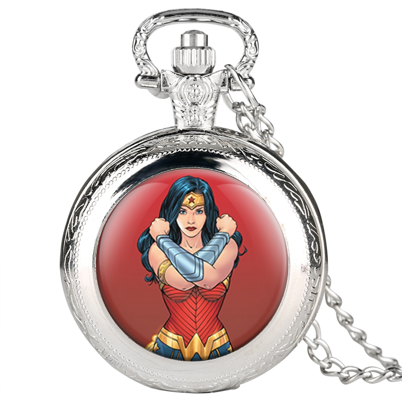 Wonder Woman Theme Pocket Watch Necklace Superhero Watch Pendant Chain Quartz Jewelry Watches Gifts For Women Girls Collectibles