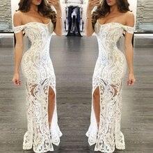 فستان ماكسي أنيق من الدانتيل الأبيض مفتوح من الأمام مكشوف الأكتاف
